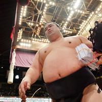 鶴竜を押し出しで破り引き上げる妙義龍=東京・両国国技館で2020年1月15日、宮間俊樹撮影