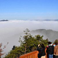 霧に包まれた風景が楽しめる「かめおか霧のテラス」=亀岡市で、川平愛撮影