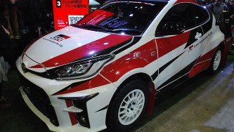 トヨタが発表したGRヤリスの特別仕様車=千葉市の幕張メッセで2020年1月11日、川口雅浩撮影