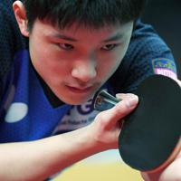 男子シングルス準々決勝、ボールを見つめる張本智和=丸善インテックアリーナ大阪で2020年1月18日、久保玲撮影