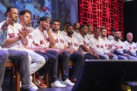 The Boston Red Sox gather during the baseball team's fan fest Friday, Jan. 17, 2020, in Springfield, Mass. (Leon Nguyen//The Republican via AP)