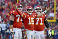 Kansas City Chiefs' Patrick Mahomes (15) celebrates a touchdown pass with Eric Fisher (72) and Mitchell Schwartz (71) during the second half of the NFL AFC Championship football game against the Tennessee Titans, on Jan. 19, 2020, in Kansas City, MO. (AP Photo/Ed Zurga)