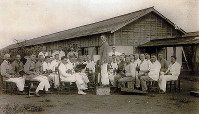 A group of German POWs who made up the Narashino prisoner of war camp orchestra are seen at the camp in around 1918, in this image provided by Rosemarie Ochsendorf.