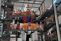 A 1:30 scale model of the Gundam Global Challenge's planned Gundam-Dock, part of the Gundam Factory Yokohama complex set to open in Yokohama on Oct. 1, 2020, is seen at an announcement event on Jan. 20, 2020. (Mainichi/Yukiko Murata)