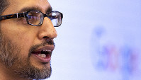 Google's chief executive Sundar Pichai addresses the audience during an event on artificial intelligence at the Square in Brussels, on Jan. 20, 2020. (AP Photo/Virginia Mayo)