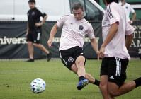 Argentine striker Matias Pelligrin shoots during the first training session for David Beckham's Inter Miami MLS soccer team, on Jan. 20, 2020, in Miami Shores, Fla. (Joe Cavaretta/South Florida Sun-Sentinel via AP)
