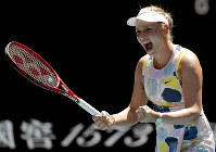 Croatia's Donna Vekic celebrates after defeating Russia's Maria Sharapova in their first-round singles match at the Australian Open tennis championship in Melbourne, Australia, on Jan. 21, 2020. (AP Photo/Lee Jin-man)