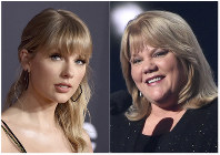 This combination photo shows Taylor Swift at the American Music Awards in Los Angeles on Nov. 24, 2019, left, and Swift's mother Andrea Finlay at the 50th annual Academy of Country Music Awards in Arlington, Texas on April 19, 2015. (AP Photo)