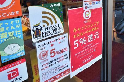キャッシュレス決済を導入した店の入り口には経済産業省のポスターが張り出されていた=宮城県栗原市栗駒の六日町通り商店街で
