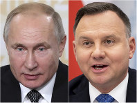 This combination of photos shows Russian President Vladimir Putin, left, on Nov. 27, 2019, in St. Petersburg, Russia, and Poland's President Andrzej Duda in Vilnius, Lithuania, on Nov. 21, 2019. (AP Photo)