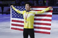 In this Dec. 7, 2019, file photo, United States' Nathan Chen celebrates after winning the men's free skate of the figure skating Grand Prix finals at the Palavela ice arena, in Turin, Italy. (AP Photo/Antonio Calanni)