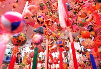 Colorful decorations are seen suspended in the city of Yanagawa, Fukuoka Prefecture, in southwestern Japan on Jan. 22, 2020, ahead of the Doll Festival on March 3. (Mainichi/Noriko Tokuno)