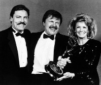 This Sept. 21, 1986 file photo shows actor John Karlen, center, who portrays the husband of detective Mary Beth Lacey on the TV show