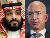 This combination of photos shows Saudi Arabia's Crown Prince Mohammed bin Salman in Jeddah, Saudi Arabia, on June 24, 2019 and Jeff Bezos, Amazon founder and CEO, in Washington, on Sept. 13, 2018. (AP Photo)