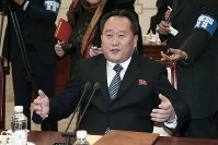 In this Jan. 9, 2018 file photo, head of North Korean delegation Ri Son Gwon speaks during a meeting with South Korean delegation at the Panmunjom in the Demilitarized Zone in Paju, South Korea. (Korea Pool via AP)