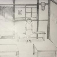 藤井哲伸さんが描いた被爆当時の幸子さんのイラスト=藤井さん提供