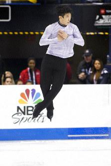 Nathan Chen performs during the senior men's short program at the U.S. Figure Skating Championships, Saturday, Jan. 25, 2020, in Greensboro, N.C. (AP Photo/Lynn Hey)