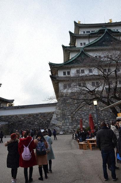 Chinese tourists are seen visiting Nagoya Castle in Nagoya, Aichi Prefecture, on Jan. 26, 2020. (Mainichi/Shintaro Iguchi)