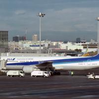 中国・武漢から帰国したチャーター機=羽田空港で2020年1月29日午前8時45分、竹内紀臣撮影