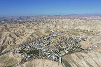 This Jan. 26, 2020 photo shows the view of the West Bank Jewish settlement of Mitzpe Yeriho. (AP Photo/Oded Balilty)