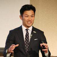 講演するラグビー元日本代表主将の広瀬俊朗さん=大阪市北区で2020年1月30日、大西達也撮影