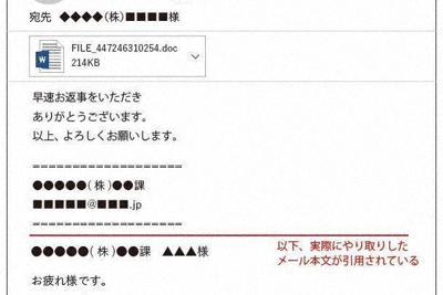エモテットに感染させようとする偽メール。差出人名などは怪しくないが、差出人のメールアドレス(図右上の<■■■■■@■■■■.■■>)のドメイン(@以降の文字列)が、差出人の組織のドメインと違っている=イメージ図・ウェブレイス作成