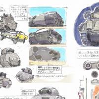 「映像研には手を出すな!」第3話で登場する「個人防衛戦車」の設定画。こだわりが感じられる描き込みの一つ一つが楽しい。原作漫画の作者、大童澄瞳によると、漫画「ドラえもん」の秘密道具の図解の影響という (C)2020 大童澄瞳・小学館/「映像研」製作委員会