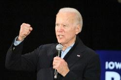 「この国を取り戻す」と訴える民主党のジョー・バイデン前副大統領=2020年2月1日、高本耕太撮影