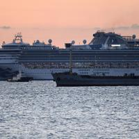 新型コロナウイルスへの感染が確認された香港の男性が一時乗船し、横浜港付近に停泊するクルーズ船「ダイヤモンド・プリンセス」=横浜市鶴見区で2020年2月4日午前6時34分、竹内紀臣撮影
