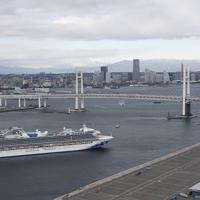 物資補充などのため、横浜港の大黒ふ頭に接岸するクルーズ船「ダイヤモンド・プリンセス」=2020年2月6日午前8時32分、本社ヘリから