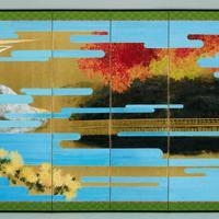 大嘗祭のために制作された「主基地方風俗歌屏風」(左)。制作者は土屋礼一・金沢美術工芸大名誉教授=宮内庁提供