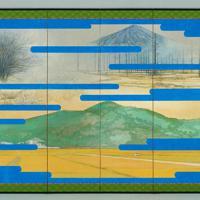 大嘗宮の儀のために制作された「悠紀地方風俗歌屏風」(左)。制作者は田渕俊夫・東京芸術大名誉教授=宮内庁提供。絵の制作者は田渕俊夫・東京芸術大名誉教授