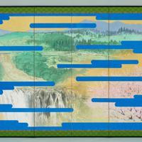 大嘗宮の儀のために制作された「悠紀地方風俗歌屏風」(右)。制作者は田渕俊夫・東京芸術大名誉教授=宮内庁提供