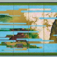 大嘗宮の儀のために制作された「主基地方風俗歌屏風」(右)。制作者は土屋礼一・金沢美術工芸大名誉教授=宮内庁提供