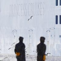 着岸するクルーズ船「ダイヤモンド・プリンセス」=横浜市鶴見区の大黒ふ頭で2020年2月9日午前8時28分、吉田航太撮影