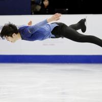 【4大陸フィギュア】男子フリーで演技する張鶴(中国)=韓国・ソウルで2020年2月9日、AP