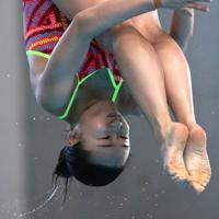 女子3メートル板飛び込み決勝、4位となった金戸凜の3回目の演技=東京辰巳国際水泳場で2020年2月9日、宮武祐希撮影