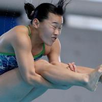 女子3メートル板飛び込み決勝、1位となった三上紗也可の3回目の演技=東京辰巳国際水泳場で2020年2月9日、宮武祐希撮影
