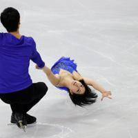 【4大陸フィギュア】ペアフリーで演技する三浦璃来、木原龍一組(木下グループ)=韓国・ソウルで2020年2月8日、ロイター