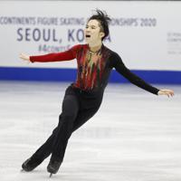 【4大陸フィギュア】男子フリーで演技する友野一希=韓国・ソウルで2020年2月9日、AP