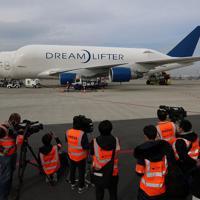 内部が公開されたボーイング747ドリームリフター=愛知県常滑市の中部空港で2020年2月12日午後2時33分、兵藤公治撮影