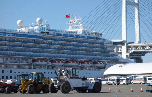 停泊するクルーズ船「ダイヤモンド・プリンセス」。船内の乗員・乗客から新型コロナウイルスの感染者が出ている=横浜市鶴見区の大黒ふ頭で2020年2月11日