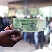 復活したジンバブエドル札。銀行の前では現金を引き出すために人々が列を作っていた=ハラレで2020年1月22日、小泉大士撮影