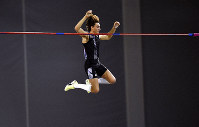Sweden's Armand Duplantis breaks the world record height in the pole vault, during the Glasgow Indoor Grand Prix at the Emirates Arena, in Glasgow, Scotland, on Saturday, Feb. 15, 2020. (Ian Rutherford/PA via AP)
