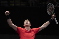 Kyle Edmund, of Britain, reacts after defeating Andreas Seppi, of Italy, in the finals of the New York Open tennis tournament, on Feb. 16, 2020, in Uniondale, N.Y. (AP Photo/Mark Lennihan)