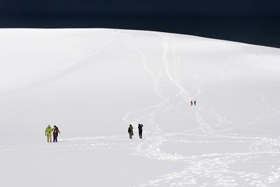 積雪で一面銀世界となった鳥取砂丘=鳥取市の鳥取砂丘で2020年2月18日午前9時半、野原寛史撮影