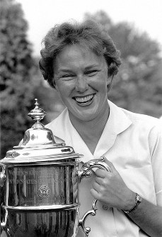 In this July 1, 1961 file photo, Mickey Wright poses after winning her third Women's National Open golf championship, at the Baltusrol Golf Club at Springfield, N.J. (AP Photo/File)
