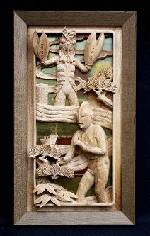 A carved wooden panel featuring the hero Ultraman, bottom right, and a villainous Alien Baltan is seen in this photo provided by the Inami Wood Carving Cooperative.