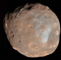 Phobos, one of Mars' natural satellites, is seen in this image provided by NASA.