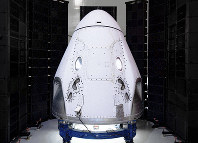 This undated photo made available by SpaceX in February 2020 shows the Crew Dragon spacecraft undergoing acoustic testing in Florida. (SpaceX via AP)